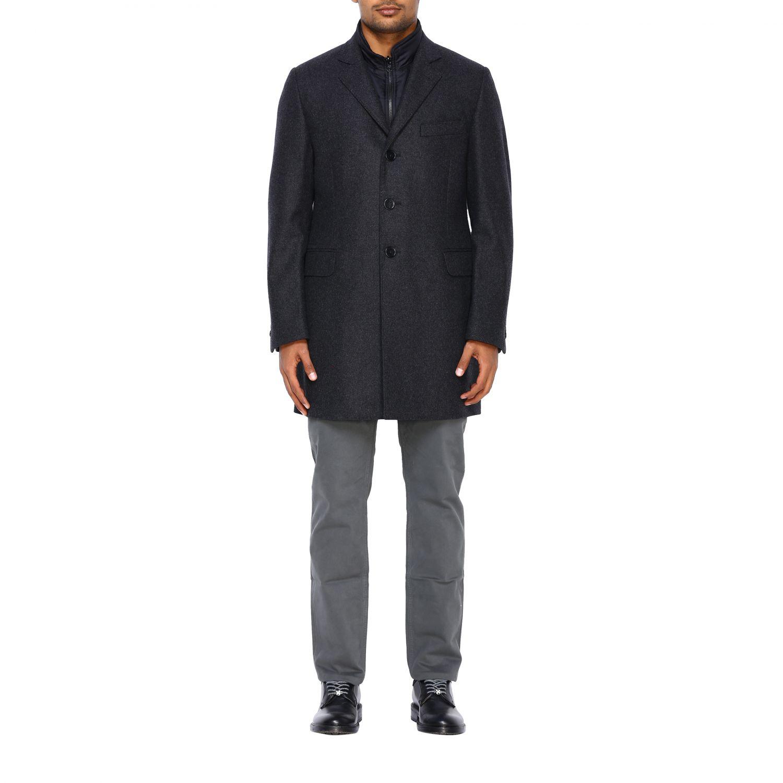 Cappotto Fay classico con pettorina in nylon antracite 1