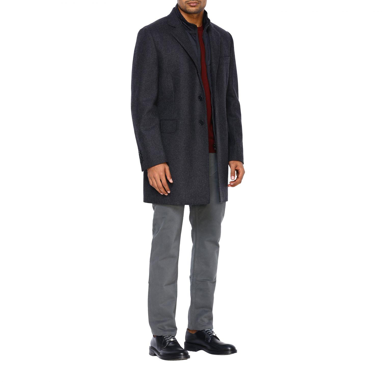 Cappotto Fay classico con pettorina in nylon antracite 2