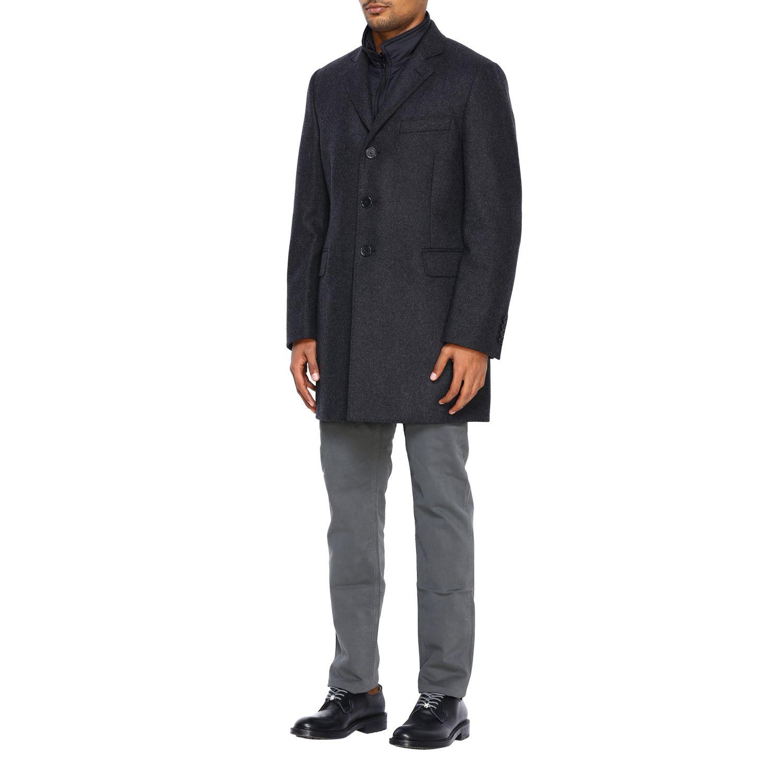 Cappotto Fay classico con pettorina in nylon antracite 4
