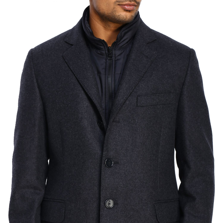 Cappotto Fay classico con pettorina in nylon antracite 5