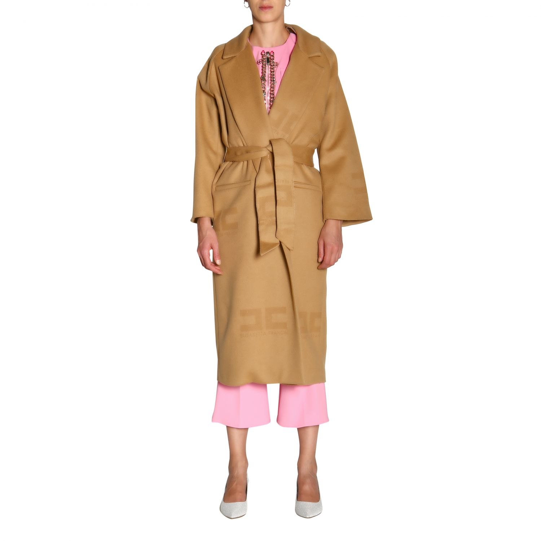 大衣 Elisabetta Franchi: Elisabetta Franchi logo和腰带装饰浴袍式长款大衣 驼色 1