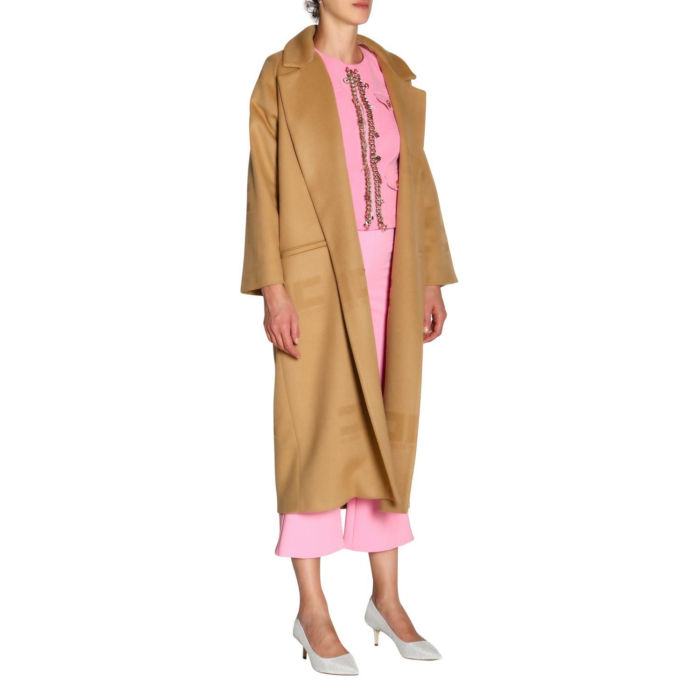 大衣 Elisabetta Franchi: Elisabetta Franchi logo和腰带装饰浴袍式长款大衣 驼色 2
