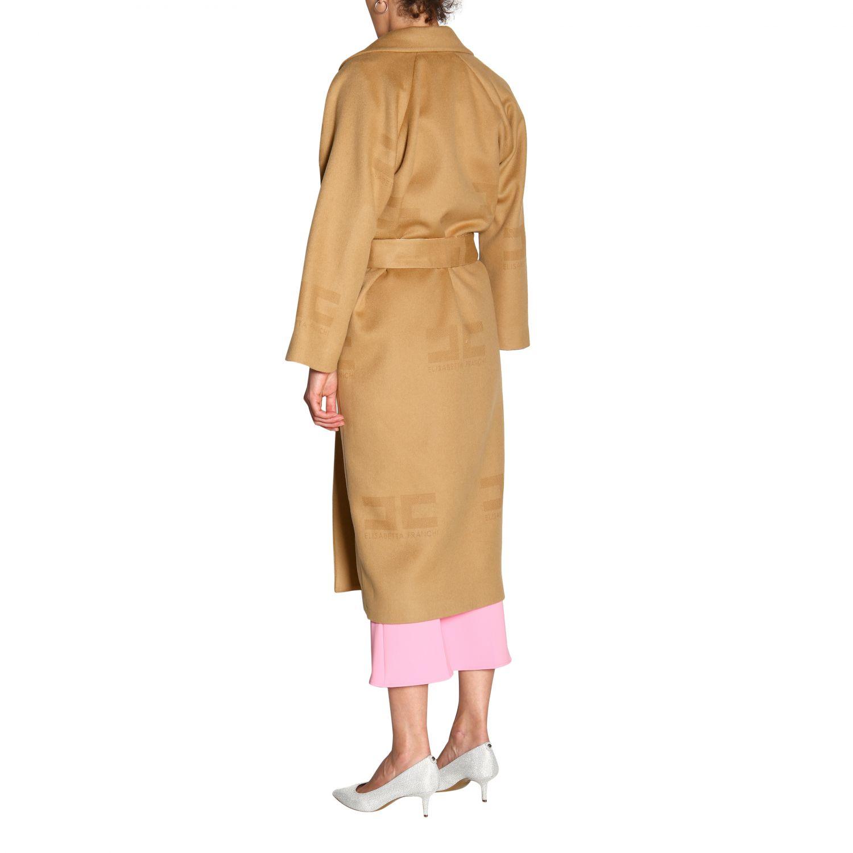 大衣 Elisabetta Franchi: Elisabetta Franchi logo和腰带装饰浴袍式长款大衣 驼色 3