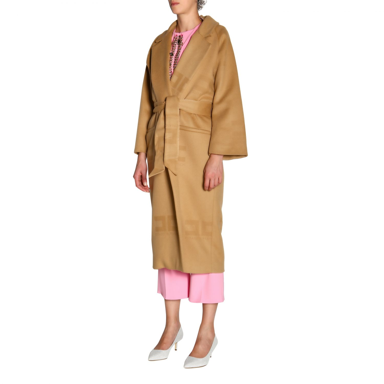 大衣 Elisabetta Franchi: Elisabetta Franchi logo和腰带装饰浴袍式长款大衣 驼色 4