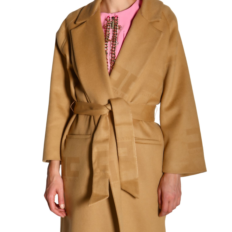 大衣 Elisabetta Franchi: Elisabetta Franchi logo和腰带装饰浴袍式长款大衣 驼色 5