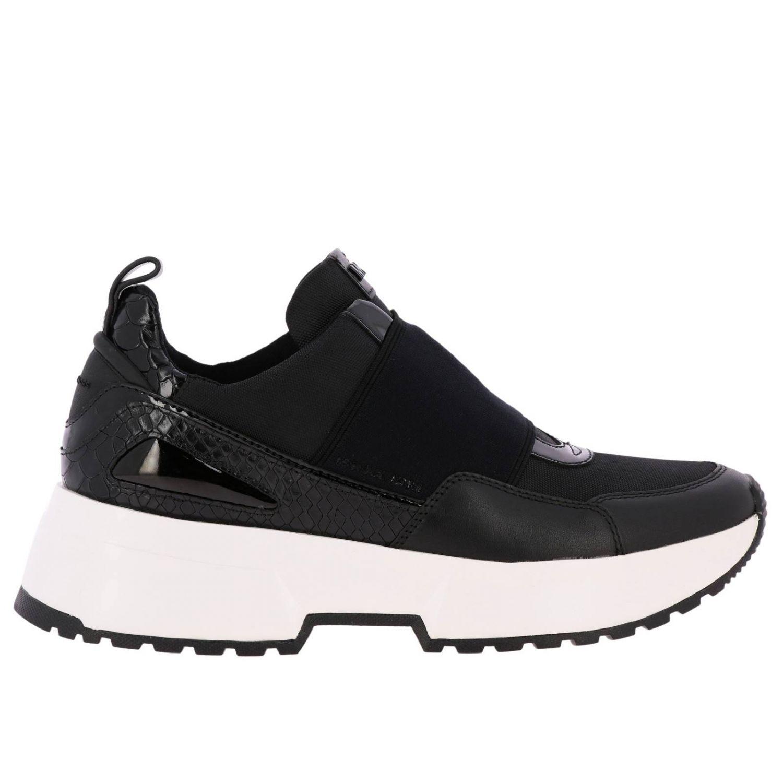 Sneakers Michael Michael Kors: Sneakers Michael Michael Kors in pelle e micro rete con maxi banda elasticizzata e logo nero 1