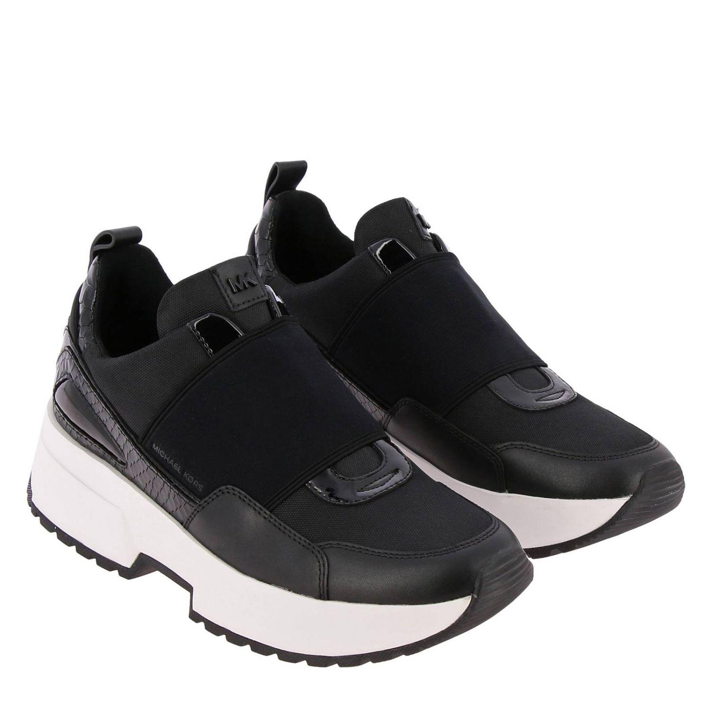 Sneakers Michael Michael Kors: Sneakers Michael Michael Kors in pelle e micro rete con maxi banda elasticizzata e logo nero 2