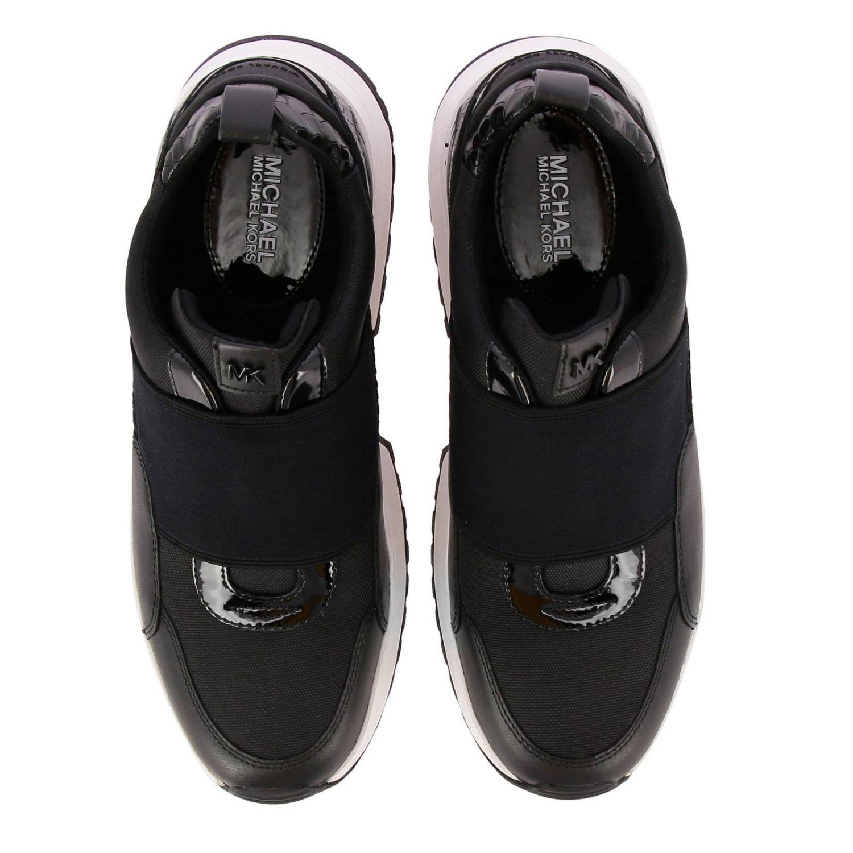 Sneakers Michael Michael Kors: Sneakers Michael Michael Kors in pelle e micro rete con maxi banda elasticizzata e logo nero 3