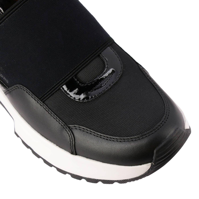 Sneakers Michael Michael Kors: Sneakers Michael Michael Kors in pelle e micro rete con maxi banda elasticizzata e logo nero 4
