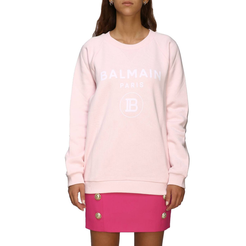 Balmain logo印花圆领卫衣 粉色 1