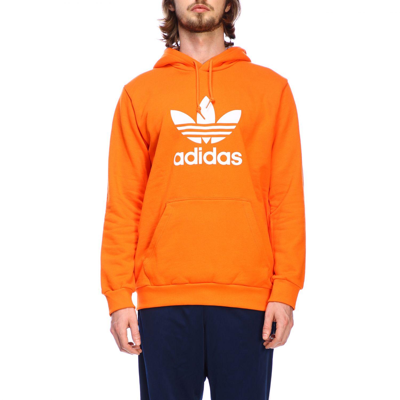 卫衣 Adidas Originals: Adidas Originals logo印花连帽卫衣 橙色 1