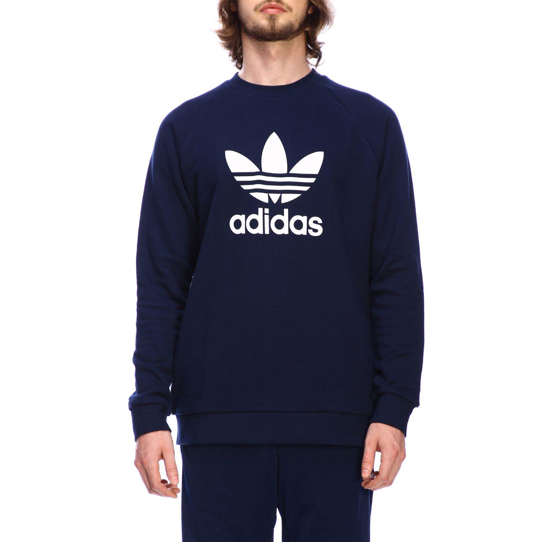 Adidas Originals logo印花圆领卫衣 蓝色 1