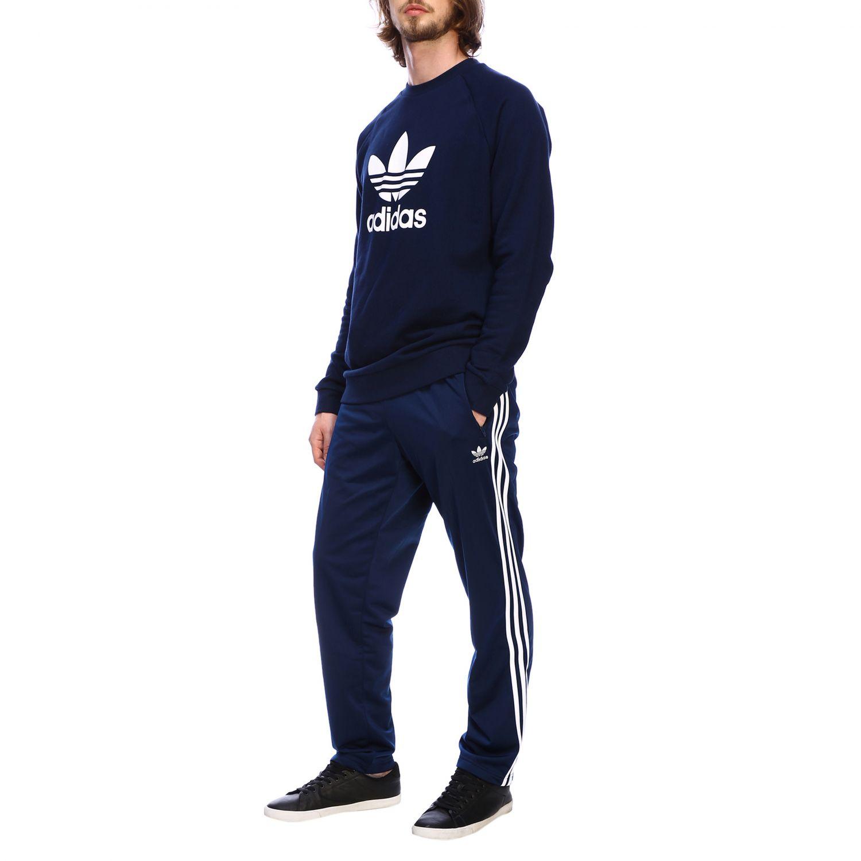 Adidas Originals logo印花圆领卫衣 蓝色 2