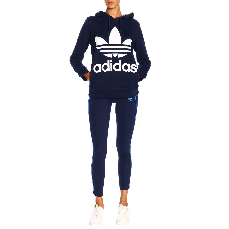 卫衣 Adidas Originals: Adidas Originals logo印花连帽卫衣 蓝色 2