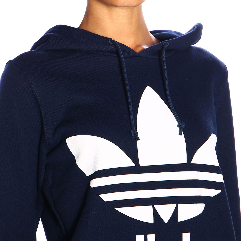 卫衣 Adidas Originals: Adidas Originals logo印花连帽卫衣 蓝色 4