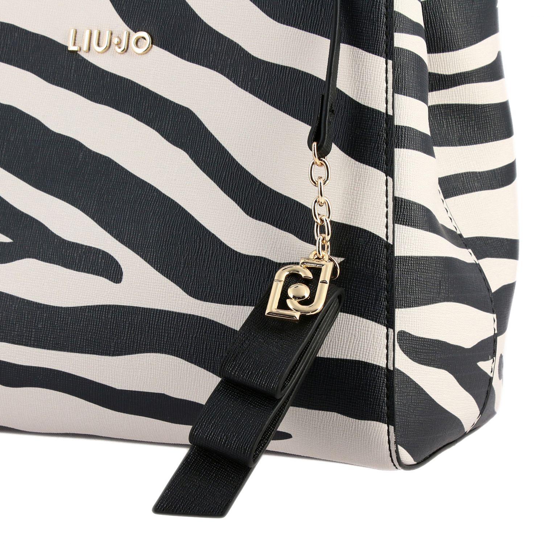 Borsa Liu Jo a fantasia zebrata con logo nero 4