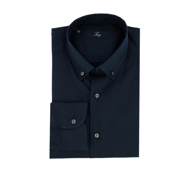 Рубашка Fay с воротником button down синий 1