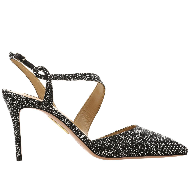 Sandalo Aquazzura con fasce incrociate nero 1