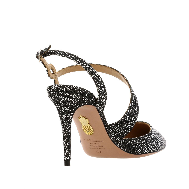 Sandalo Aquazzura con fasce incrociate nero 5