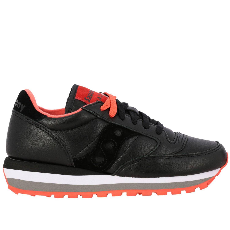 Sneakers Saucony in pelle e camoscio nero 1