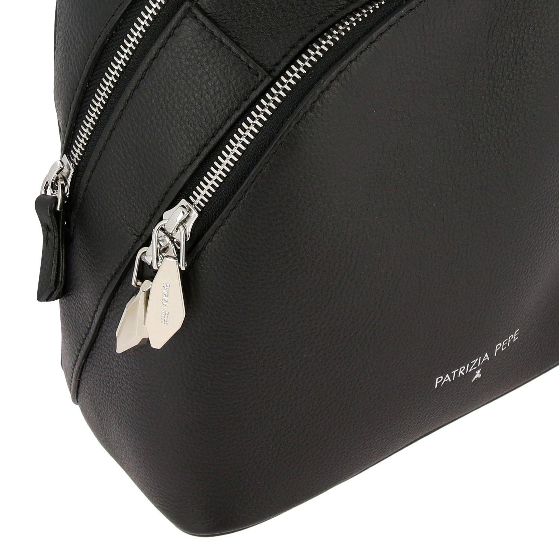 双肩包 Patrizia Pepe: Patrizia Pepe 双拉链金属感真皮背包 黑色 5