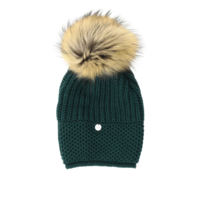 Cappello Catya con maxi pompon verde 1
