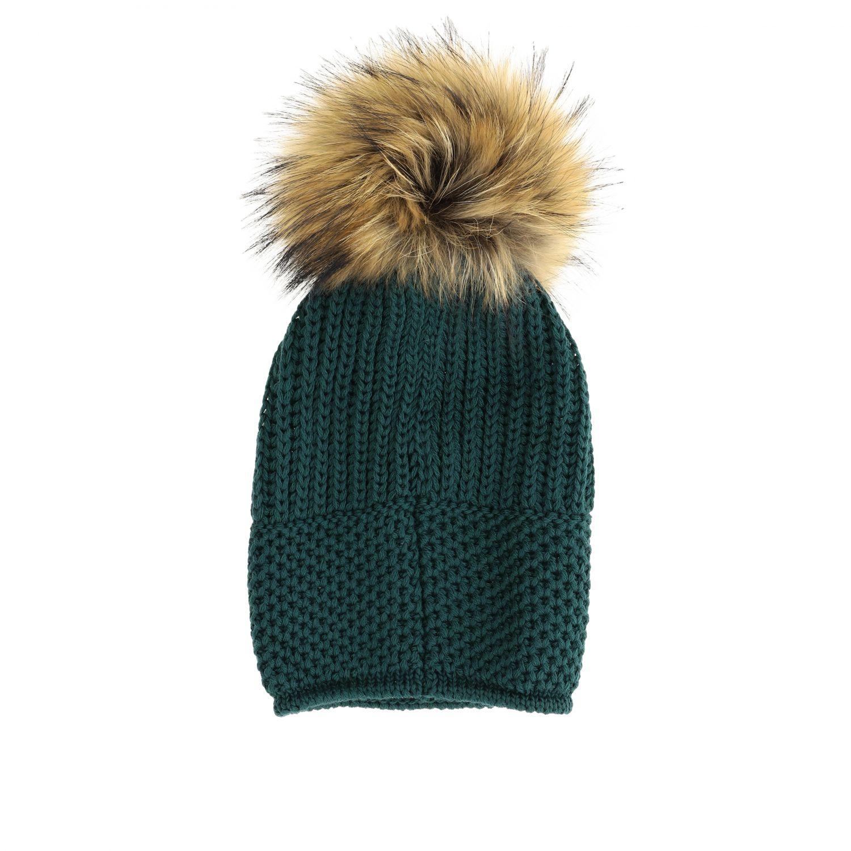 Cappello Catya con maxi pompon verde 2