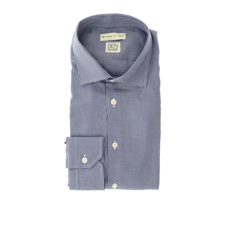 衬衫 Etro: Etro 微型格纹宽角领衬衫 蓝色 1
