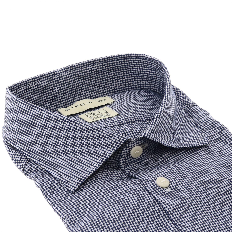 衬衫 Etro: Etro 微型格纹宽角领衬衫 蓝色 2