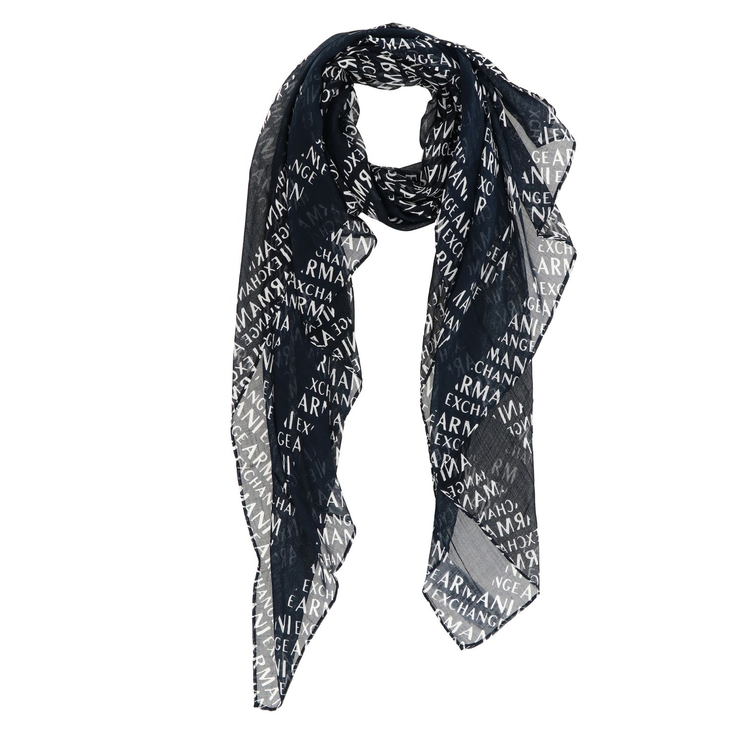 Foulard Armani Exchange con logo all over blue 1 2