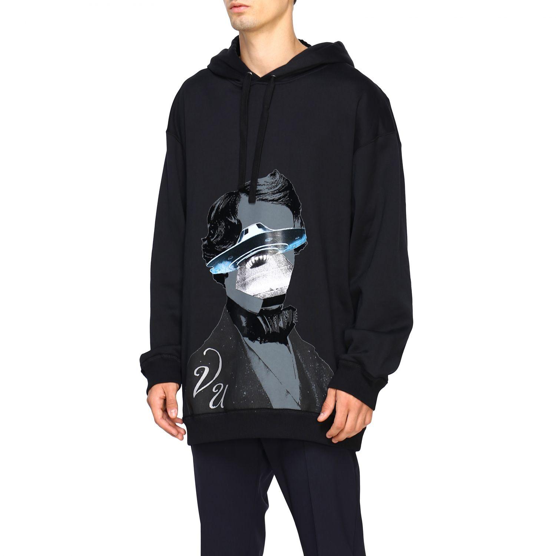 Valentino v face ufo 印花连帽卫衣 黑色 4
