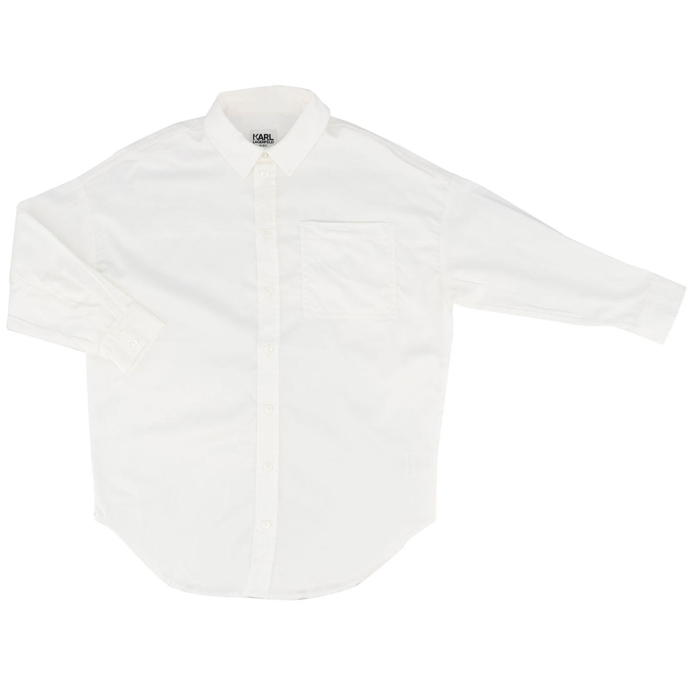 Camisa Karl Lagerfeld Kids: Vestido niños Karl Lagerfeld Kids blanco 1