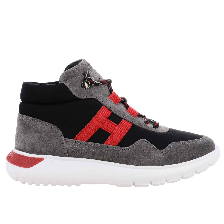 Sneakers Hogan en daim et toile avec maxi H bleu 1