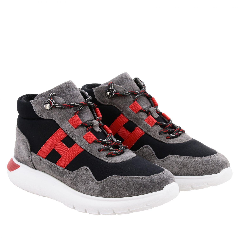 Sneakers Hogan en daim et toile avec maxi H bleu 2