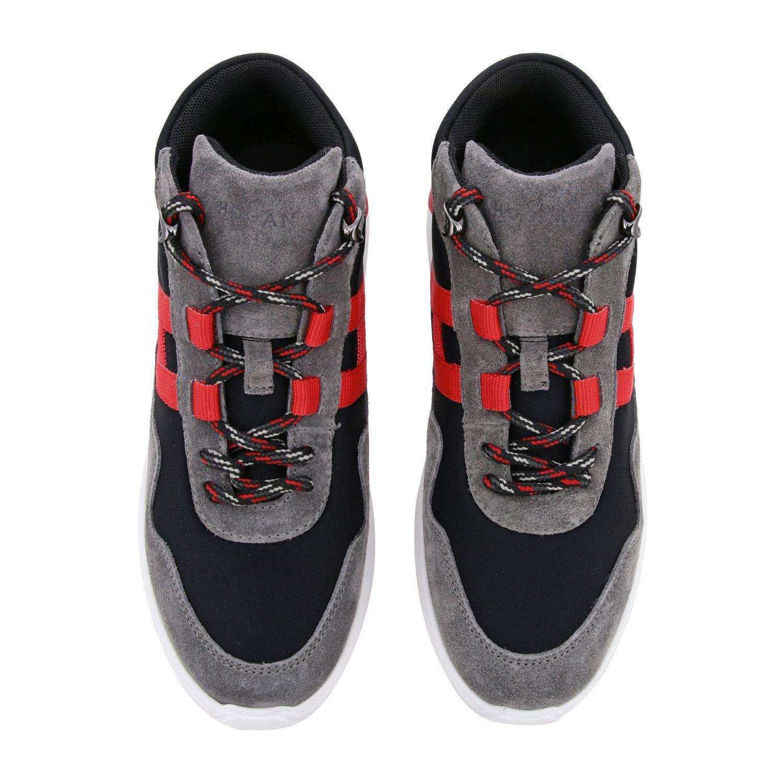 Sneakers Hogan en daim et toile avec maxi H bleu 3