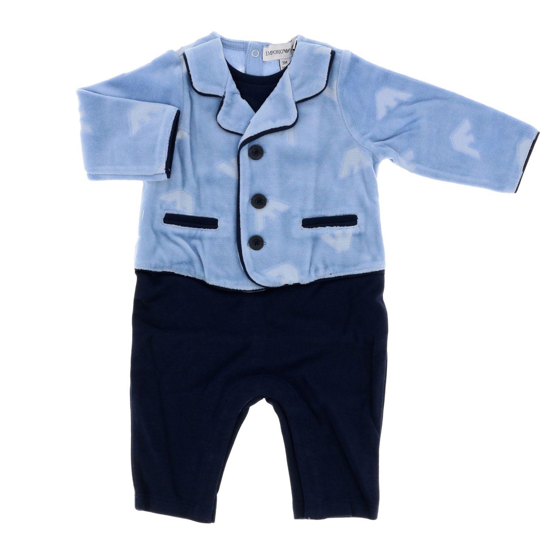 Emporio Armani Anzug mit Logo hellblau 1