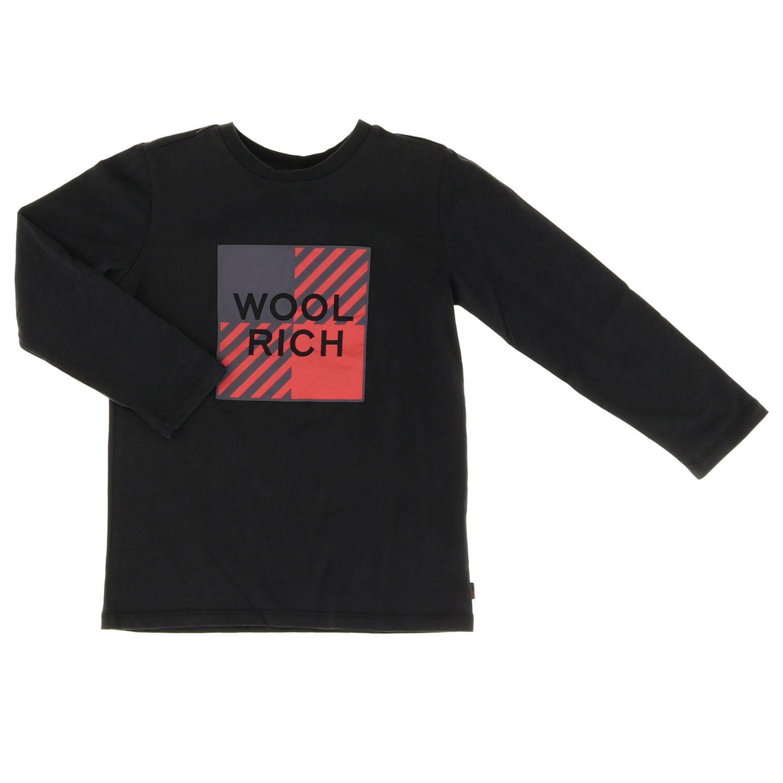 T-shirt Woolrich: T-shirt Woolrich a maniche lunghe con logo nero 1