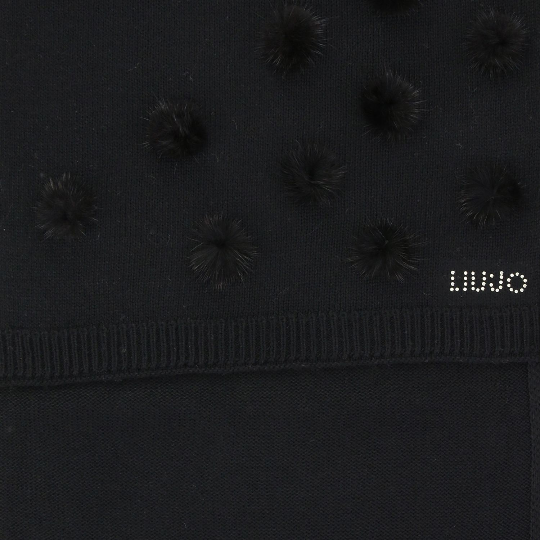Foulard Liu Jo: Sciarpa Liu Jo con logo e pompon nero 3