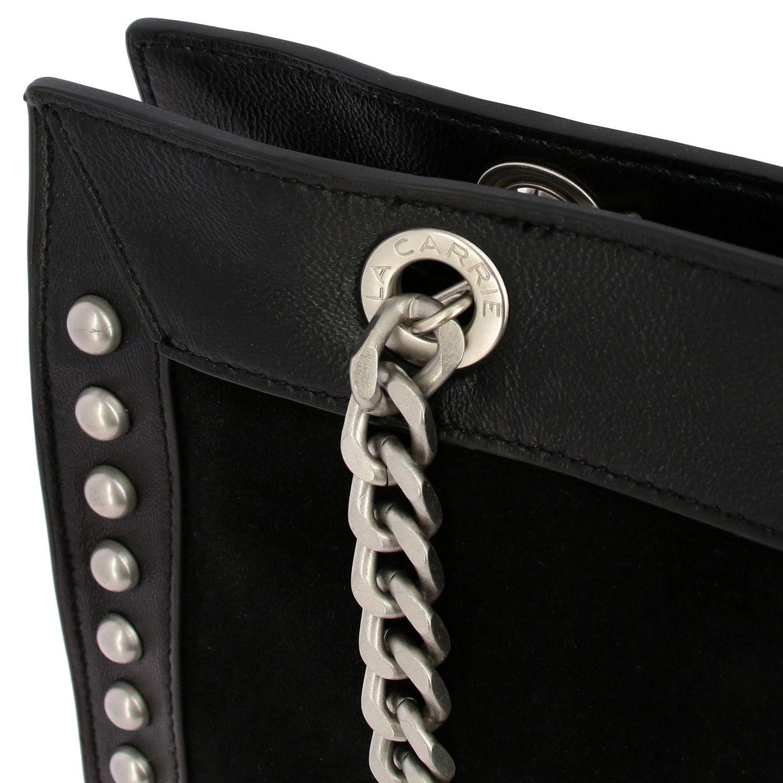 Borsa a mano La Carrie: Borsa La Carrie in pelle sintetica e camoscio con borchie nero 4