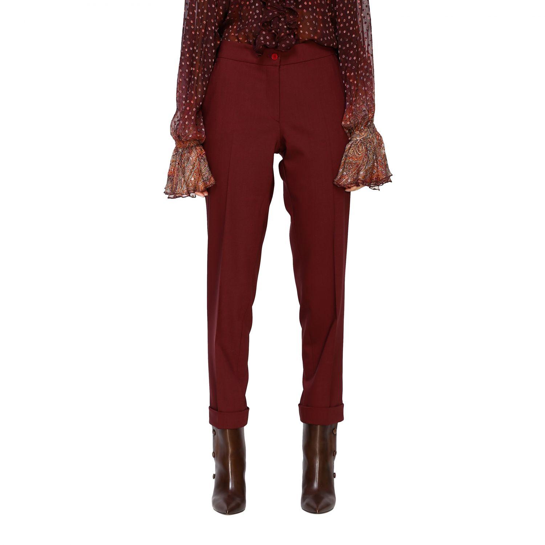 Trousers women Etro burgundy 1