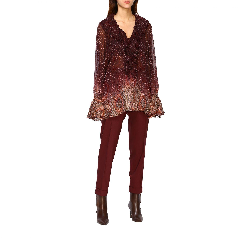 Trousers women Etro burgundy 2