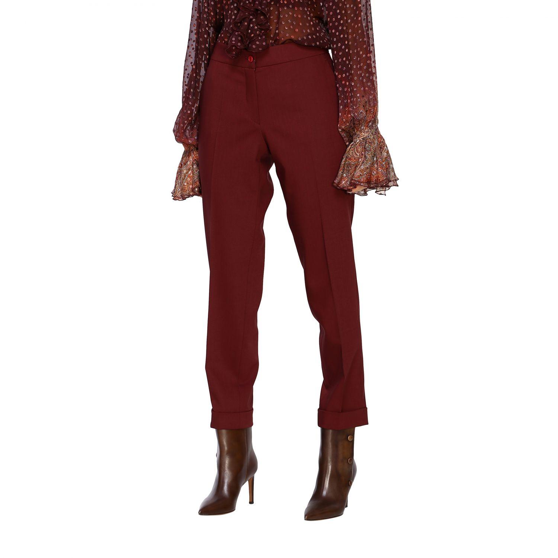 Trousers women Etro burgundy 4