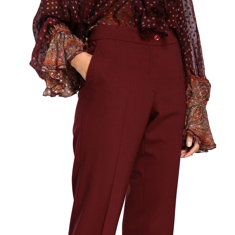 Trousers women Etro burgundy 5