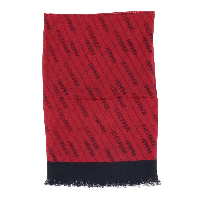 Foulard Armani Exchange: Foulard Armani Exchange con logo all over rosso 1