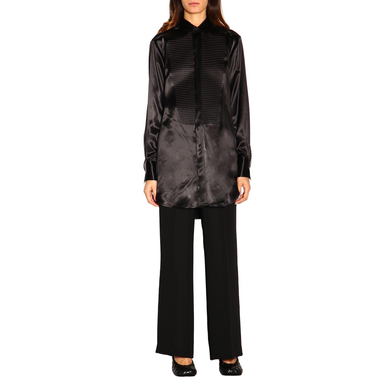 Camicia Bottega Veneta: Camicia Bottega Veneta lunga in seta con plastron nero 1