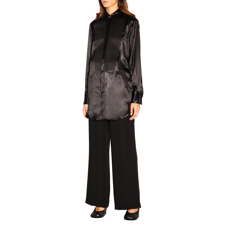 Camicia Bottega Veneta: Camicia Bottega Veneta lunga in seta con plastron nero 3