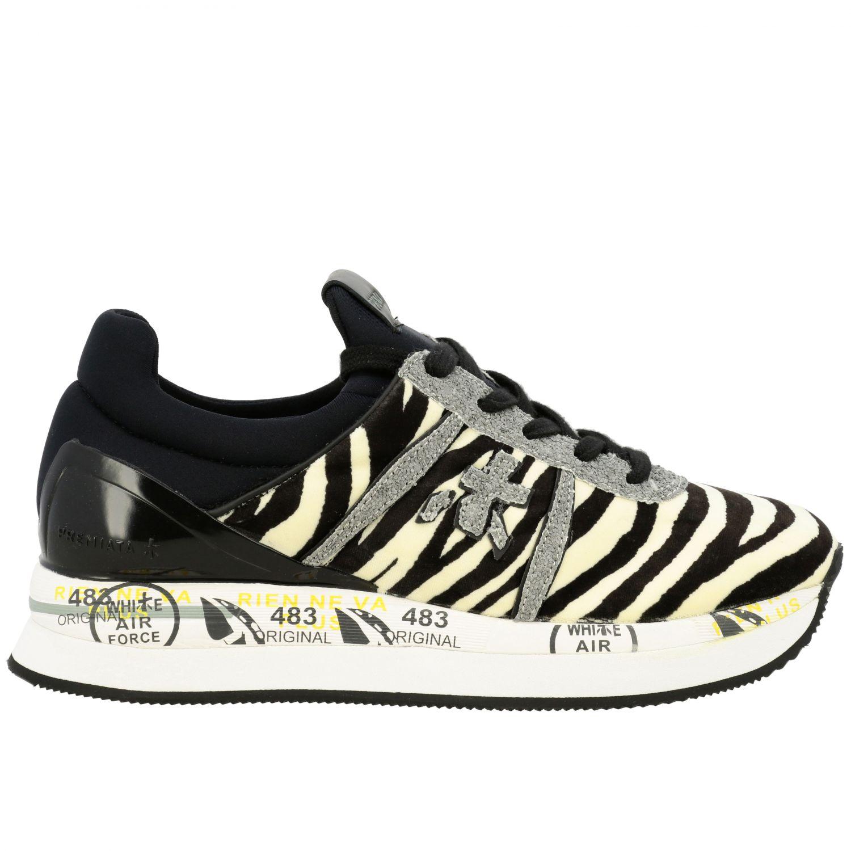 Sneakers Premiata: Sneakers Liz Premiata in tessuto stampa zebra e glitter avorio 1
