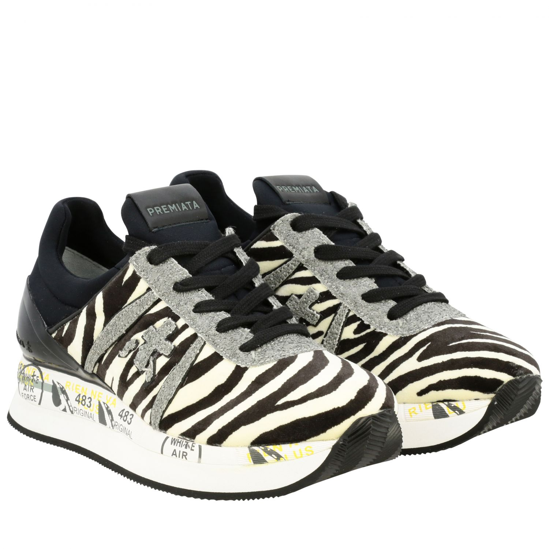 Sneakers Premiata: Sneakers Liz Premiata in tessuto stampa zebra e glitter avorio 2