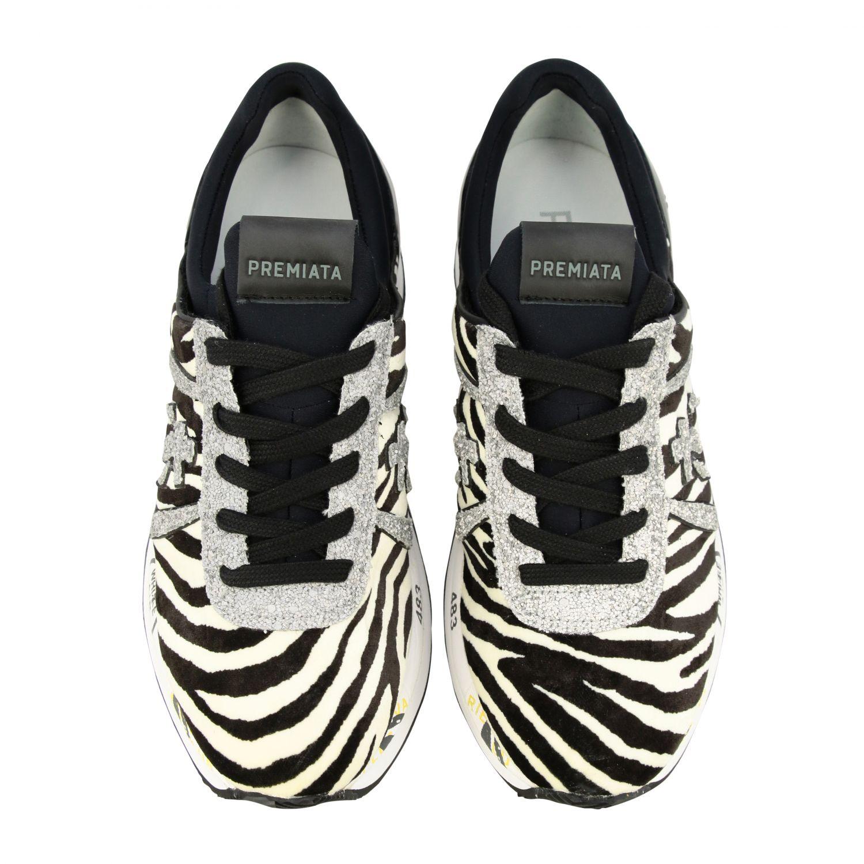 Sneakers Premiata: Sneakers Liz Premiata in tessuto stampa zebra e glitter avorio 3