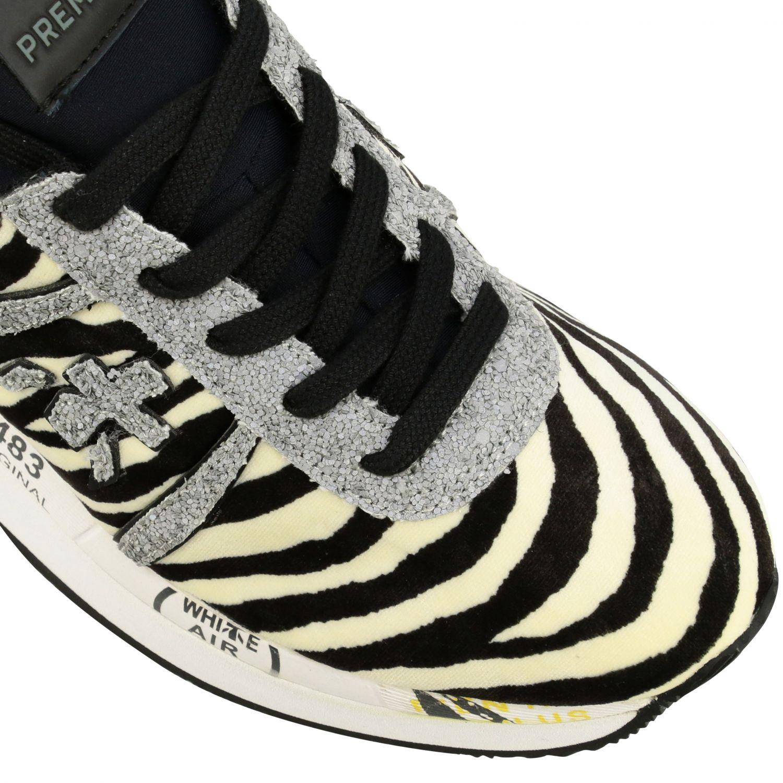 Sneakers Premiata: Sneakers Liz Premiata in tessuto stampa zebra e glitter avorio 4